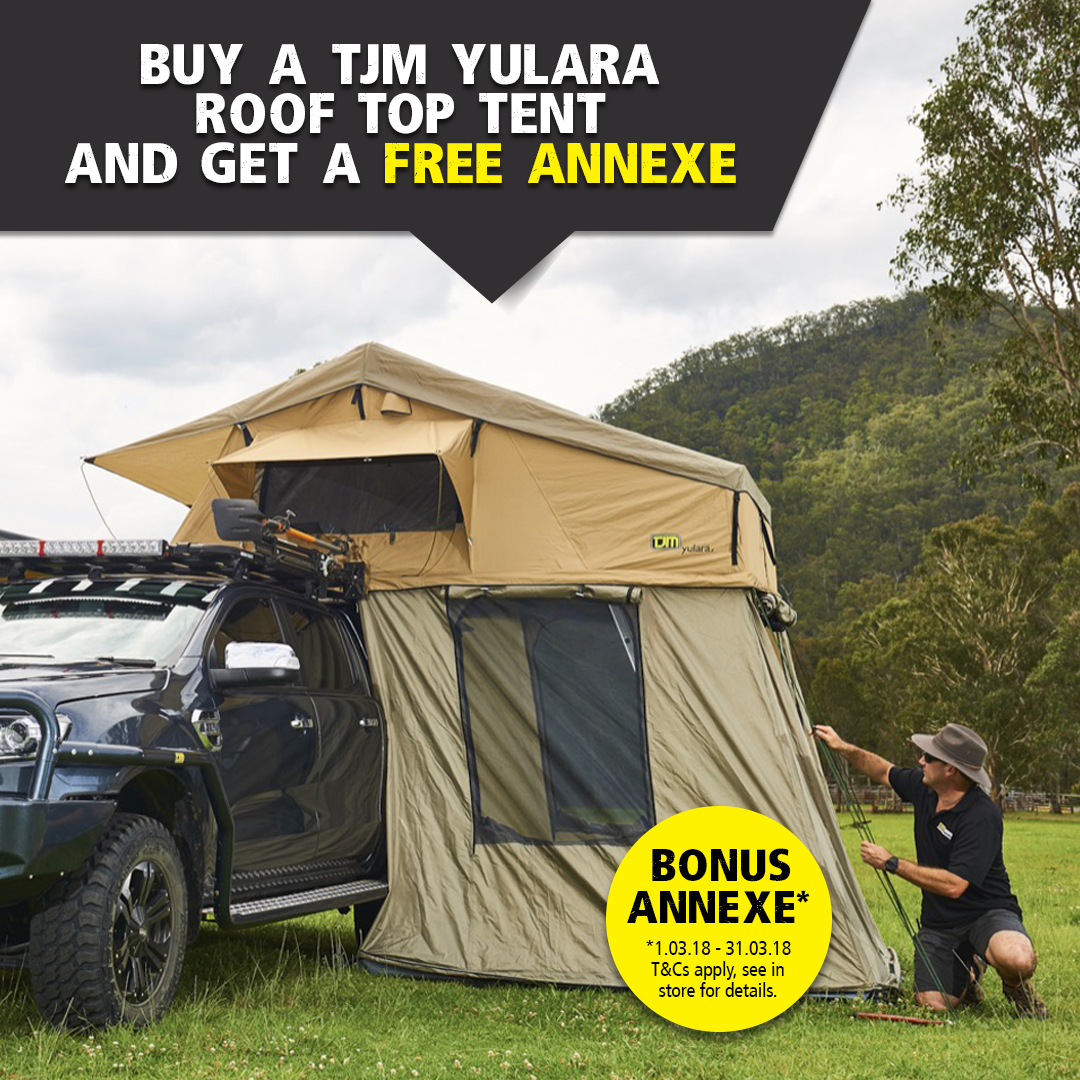 March madness gives you the chance to score a free annexe with every TJM Yulara Roof Top Tent purchase. The value of this deal will see you $324 better off ... & SPECIALS/CLEARANCE | TJM Hunter Valley